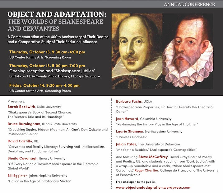 Object Adaptation conference Shakespeare Cervantes banner and schedule