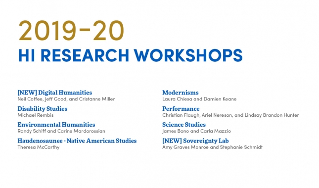 2019-20 research workshops, new digital humanities, disability studies, environmental humanities, haudenosaunee native american studies, modernisms, performance, sciences studies, new sovereignty lab