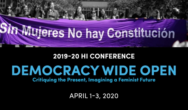 sin mujeres no hay constitucion banner held by a line of women, 2019-20 H.I. conference, democracy wide open, april 1-3, 2020