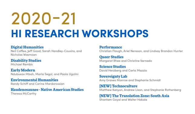 2020-21 research workshops, digital humanities, disability studies, early modern, environmental humanities, haudenosaunee-native american studies, performance, queer studies, science studies, sovereignty lab, technoculture, translation zone: south asia