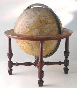 antique globe with wood table leg base